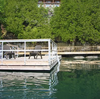 Hotel and Dock at Rockgarden Terrace Resort on Lake Mindemoya